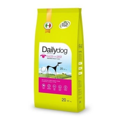 Сухой корм Dailydog Adult Medium Breed lamb and rice для взрослых собак средних пород с ягненком и рисом, 20 кг.