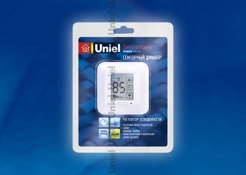 USW-001-LCD-DM-40/500W-TM-M-WH Выключатель с регулятором яркости лампы (диммер) и таймером выключения. Сенсорная панель. Блистер. Цвет — белый