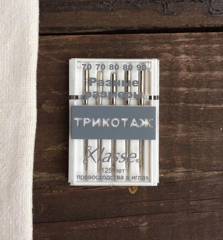 Иглы для бытовых швейных машин Для трикотажа, №70, 80, 90 Hemline Klasse