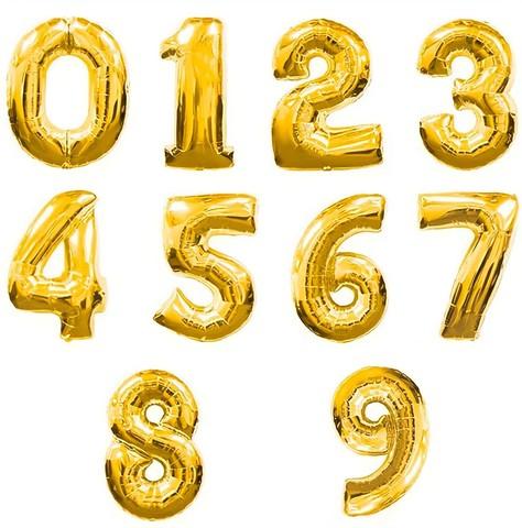 Фольгированные цифры золотые