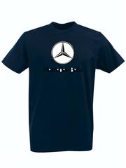 Футболка с принтом Mercedes-Benz (Мерседес-Бенц) темно-синяя 001