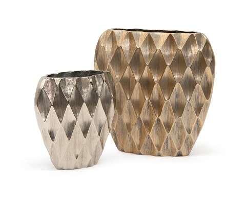 Set of Two Harlequin Vases in Silver and Gold