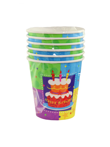 Набор бумажных стаканов С днем рождения