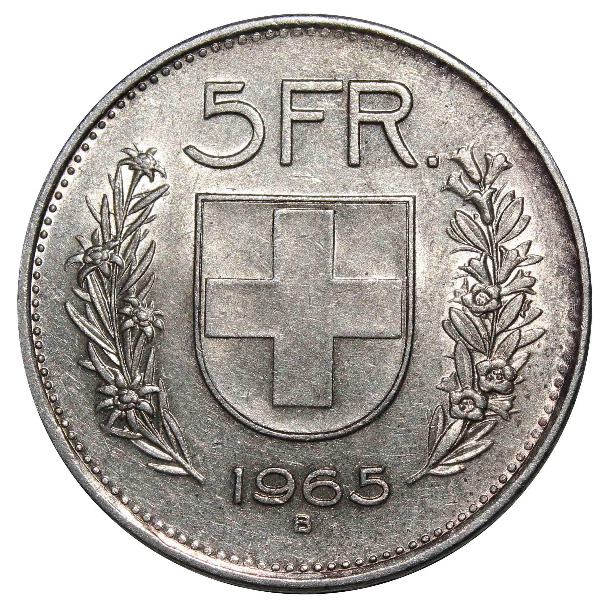 5 франков. Швейцария. 1965 год. Серебро. XF-AU
