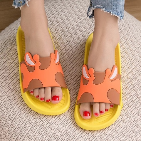 Тапочки жираф оранжевые