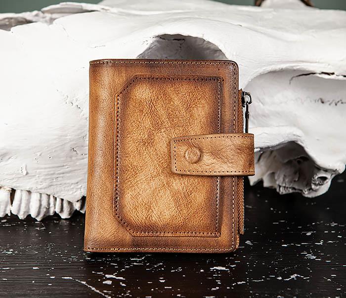 WL330-2 Коричневый мужской кошелек с монетницей на «молнии» фото 02