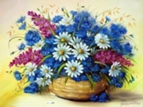 Алмазная Мозаика 40x50 Цветы из сада в корзинке (арт. S019 )