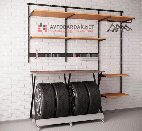 Комплект лофт №4: полки из дерева + стеллаж для колес