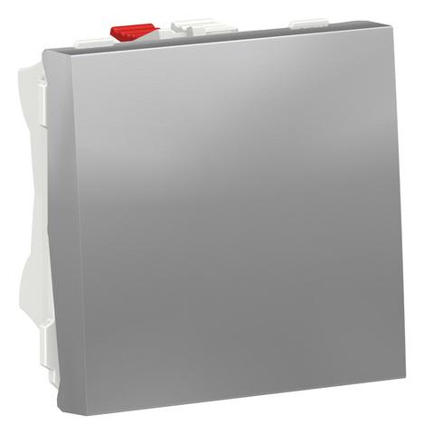 Выключатель кнопочный одноклавишный. 2 модуля. Цвет Алюминий. Schneider Electric. Unica Modular. NU320630