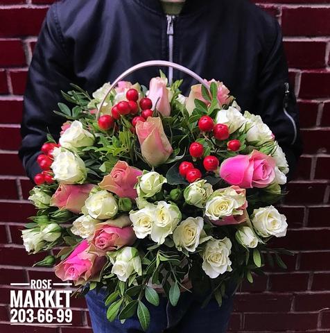 Розы в корзинке #15392