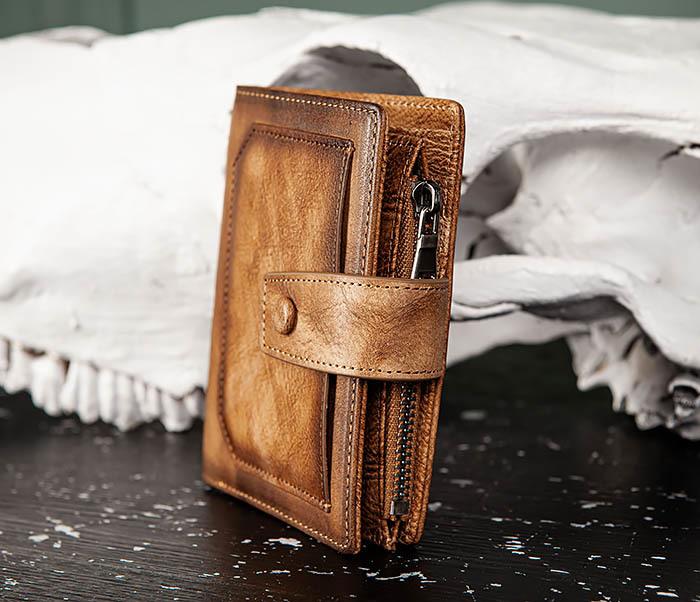 WL330-2 Коричневый мужской кошелек с монетницей на «молнии» фото 03