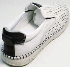 Летние белые туфли слипоны кожаные мужские Ridge Z-441 White Black.