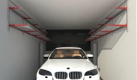 Проект № 19: гаражный бокс 3х6 м (антресольные металлические полки).