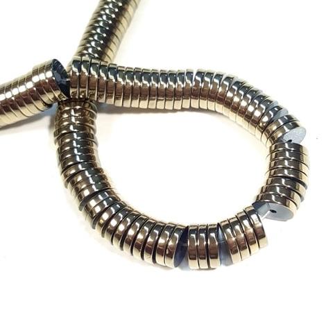Бусины гематит рондель плоский 10 х 2 мм античное золото 1 штука