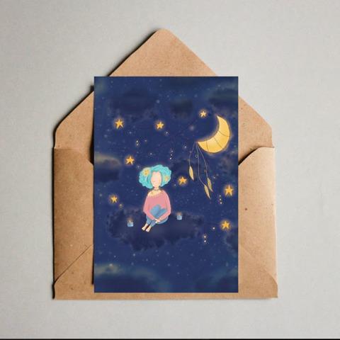 Фотография Открытка авторская почтовая «Звездная воображуля» / 10*15 см купить в магазине Афлора