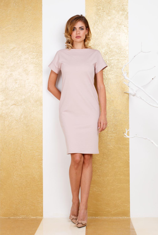 Платье З269-464 - Стильное однотонное платье-футляр -универсальный предмет в гардеробе каждой женщины. Безупречная посадка обеспечивается за счет хорошо продуманного кроя, короткие цельнокроенные рукава с манжетами делают образ гармоничным и завершенным. Платье можно сочетать с целым рядом таких предметов одежды, как блейзеры, жакеты, жилеты, свитера. Наряд одинаково хорош как для торжественных выходов в свет, так и для делового образа современной бизнес-леди.
