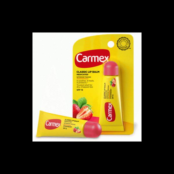 Бальзам для губ Carmex ®  с ароматом клубники с защитой от воздействия ультрафиолета SPF15, туба в блистере