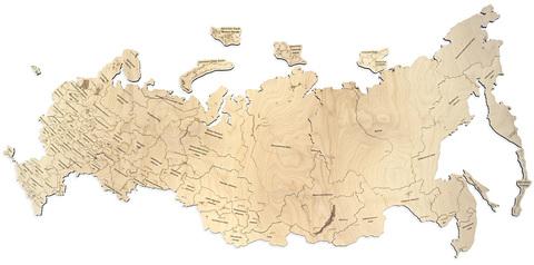 Пазл-карта России ДекорКоми из дерева - 100x53 см / С магнитами