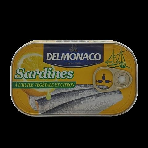 Сардины в растительном масле с лимоном DELMONACO