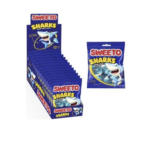 Мармелад в пакетиках SWEETO SHARK  АКУЛЫ 1кор*6бл*12шт 80 гр.