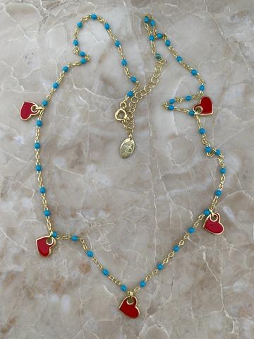 Колье Лавуа с голубой и красной эмалью