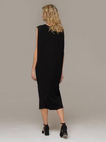 Женское черное платье свободного кроя без рукавов из 100% кашемира - фото 3