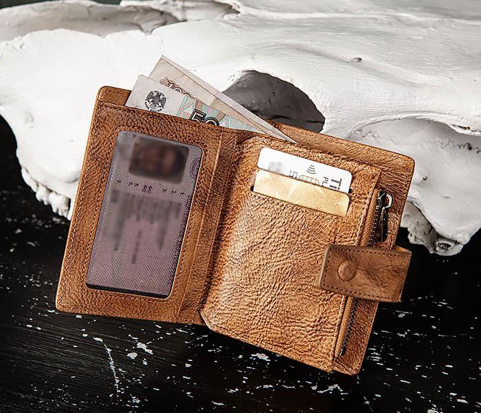 WL330-2 Коричневый мужской кошелек с монетницей на «молнии» фото 06