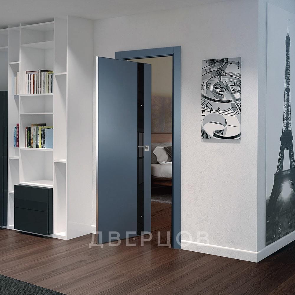 Системы открывания Рото дверь 6E антрацит с чёрным стеклом алюминиевая матовая кромка с 4-х сторон 6E-antratsit-chyernyy-lak-mat-khrom-dvertsov.jpg