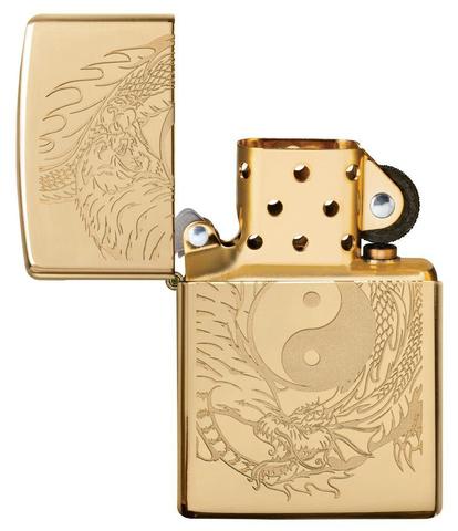 Зажигалка Zippo Classic с покрытием High Polish Brass, латунь/сталь, золотистая, 36x12x56 мм123