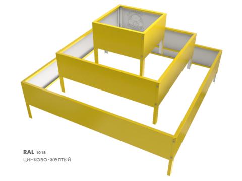 Клумба квадратная оцинкованная Пирамида 3 яруса  RAL 1018 Цинково-жёлтый