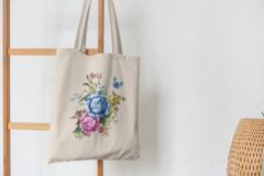 Сумка-шоппер с принтом Цветы (Розы) бежевая 0012