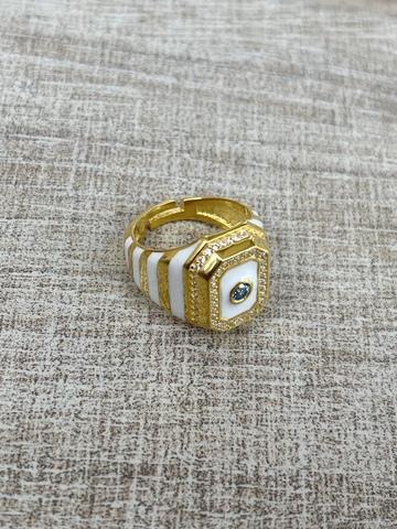 Кольцо Ситрисия, позолота с белыми полосками