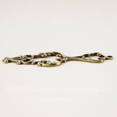 Винтажный декоративный элемент - подвеска 42х17 мм (оксид латуни)