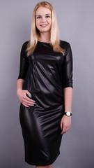 Арина масло-кожа. Практичное платье больших размеров. Черный.