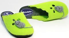 Обувь домашняя женская тапочки Inblu NC- 1B Mouse Light Green