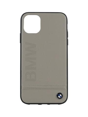 BMW / чехол для телефона iPhone 11 Pro Max | Signature Logo imprint Hard Leather Taupe