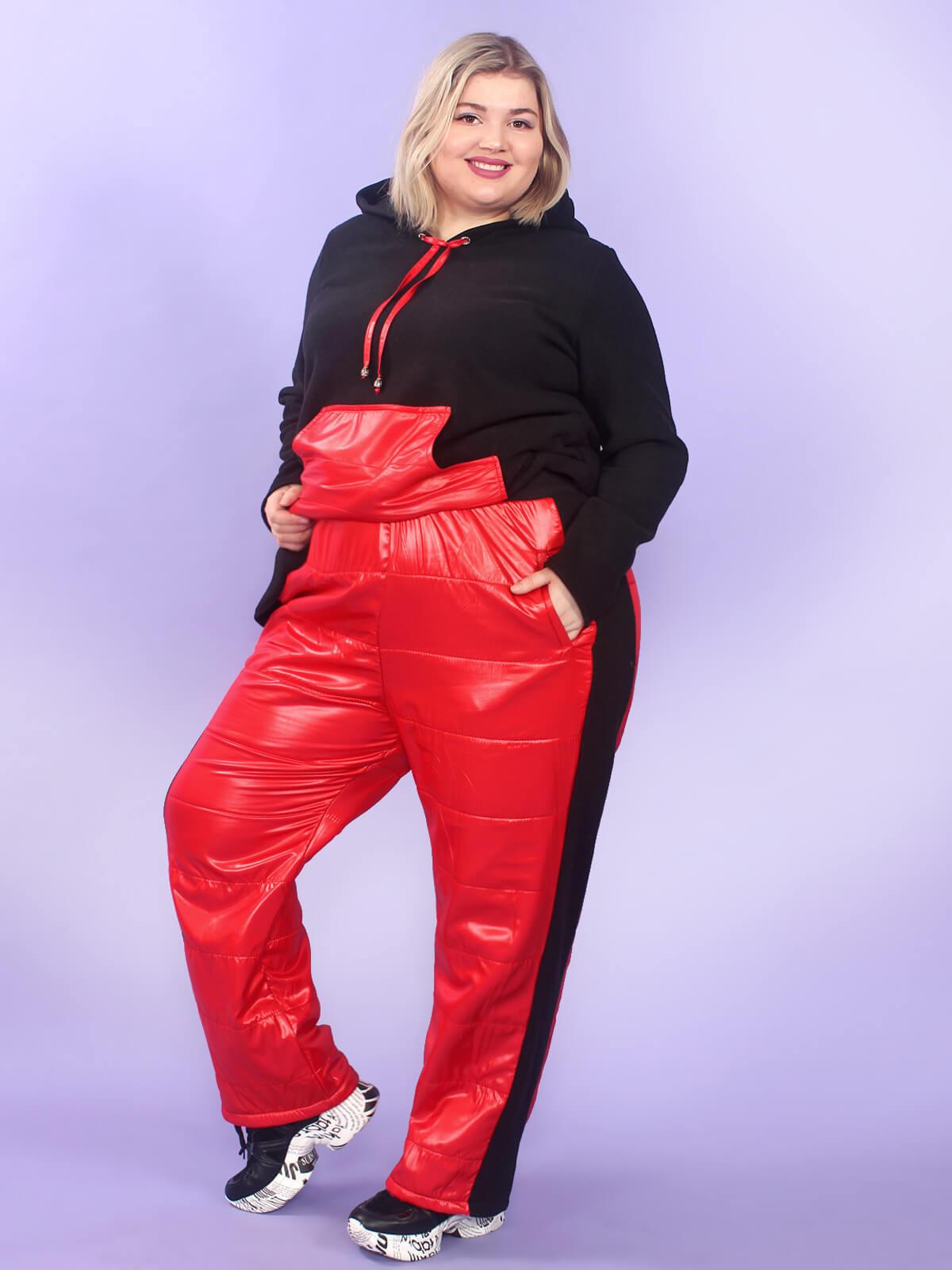 Красные женские теплые брюки больших размеров