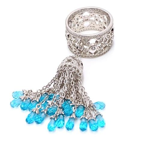 5148- Кольцо из серебра с подвеской кисточка с голубыми каплевидными цирконами