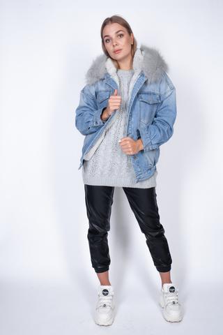 Джинсовая куртка с мехом женская зима купить