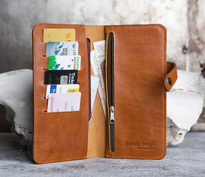 WB111-2 Длинный кошелек ручной работы из натуральной кожи. «Boroda Design» фото 06