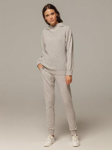 Женский серый джемпер с капюшоном из шерсти и кашемира - фото 2