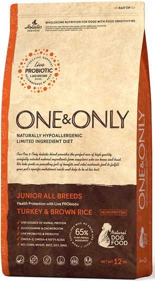 Сухой корм Корм для юниоров в возрасте от 4 месяцев, ONE&ONLY Turkey & Rice JUNIOR All Breeds, с индейкой и рисом Индейка_с_рисом_юниоры.png