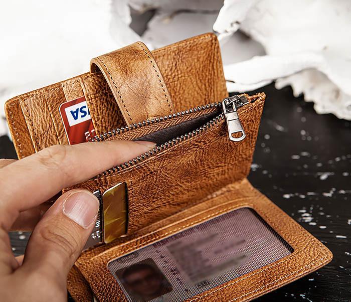 WL330-2 Коричневый мужской кошелек с монетницей на «молнии» фото 09