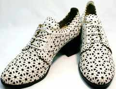 Модные женские босоножки полуботинки на шнурках Arella 426-33 White.