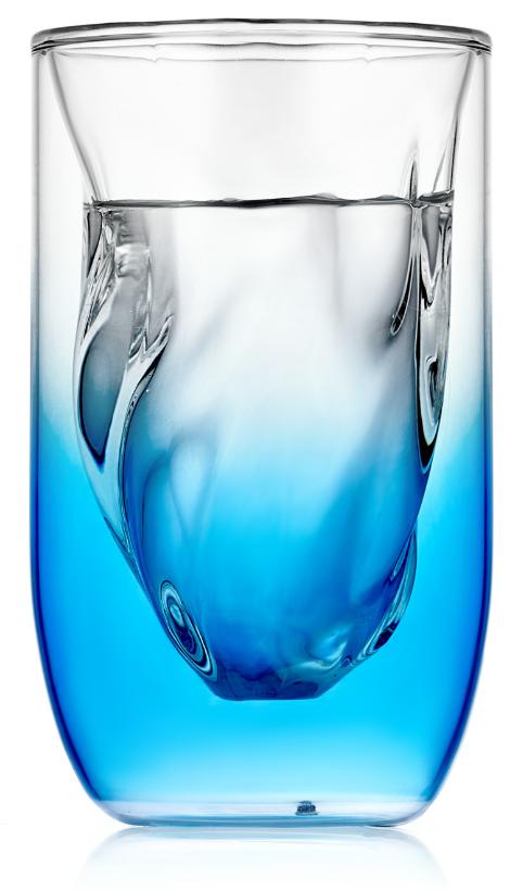 Стаканы (двойной стакан) Стакан SETI Glaffe с двойными стенками рельефной формы градиент синего, 300 мл 2-104-350b-SETI-Glaffe-teastar2.PNG