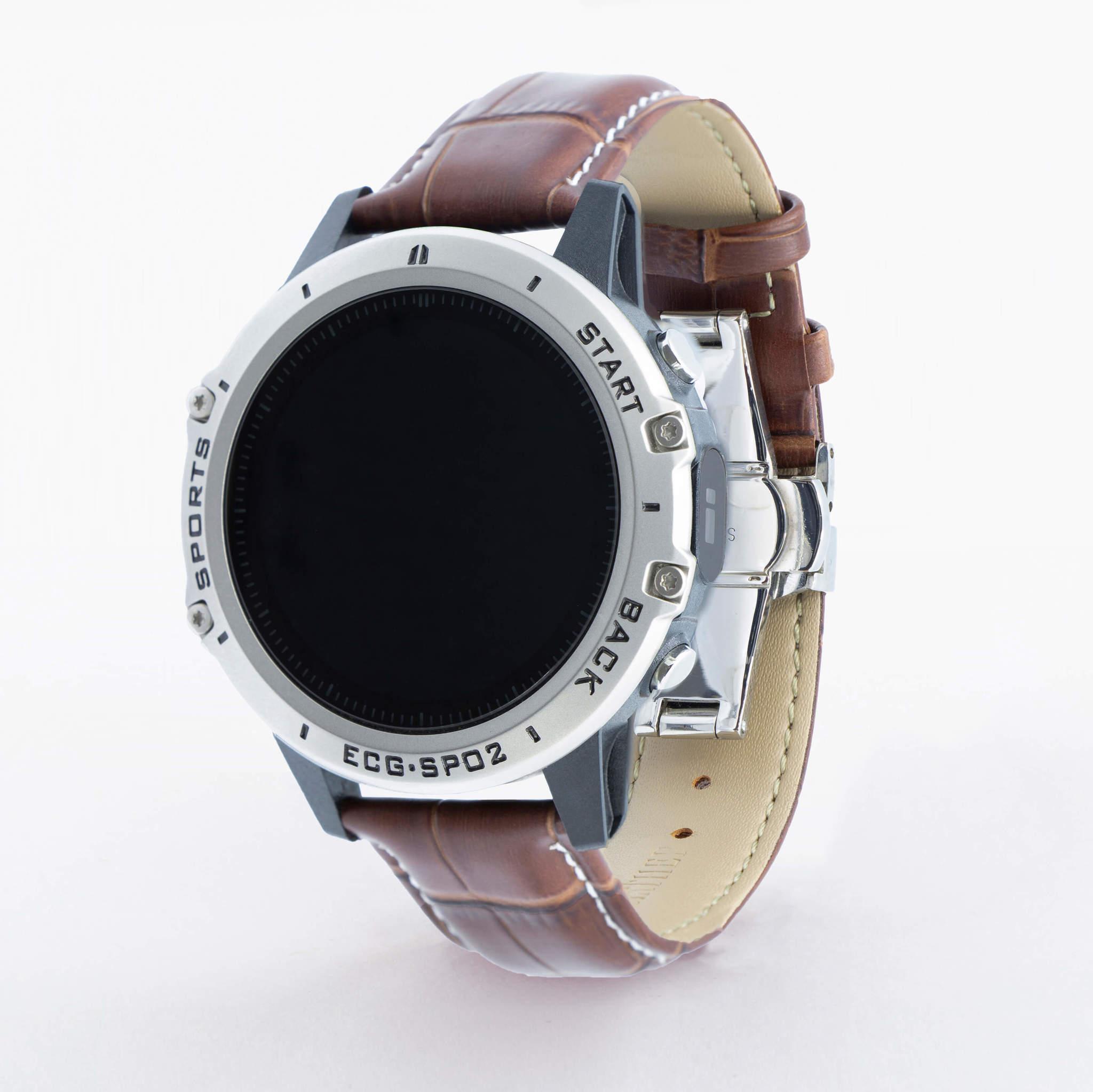 Профессиональные часы здоровья с измерением кислорода (сатурации), давления, снятием ЭКГ и круглосуточным мониторингом пульса Dr.Hofner DH50 (матово-коричневый)