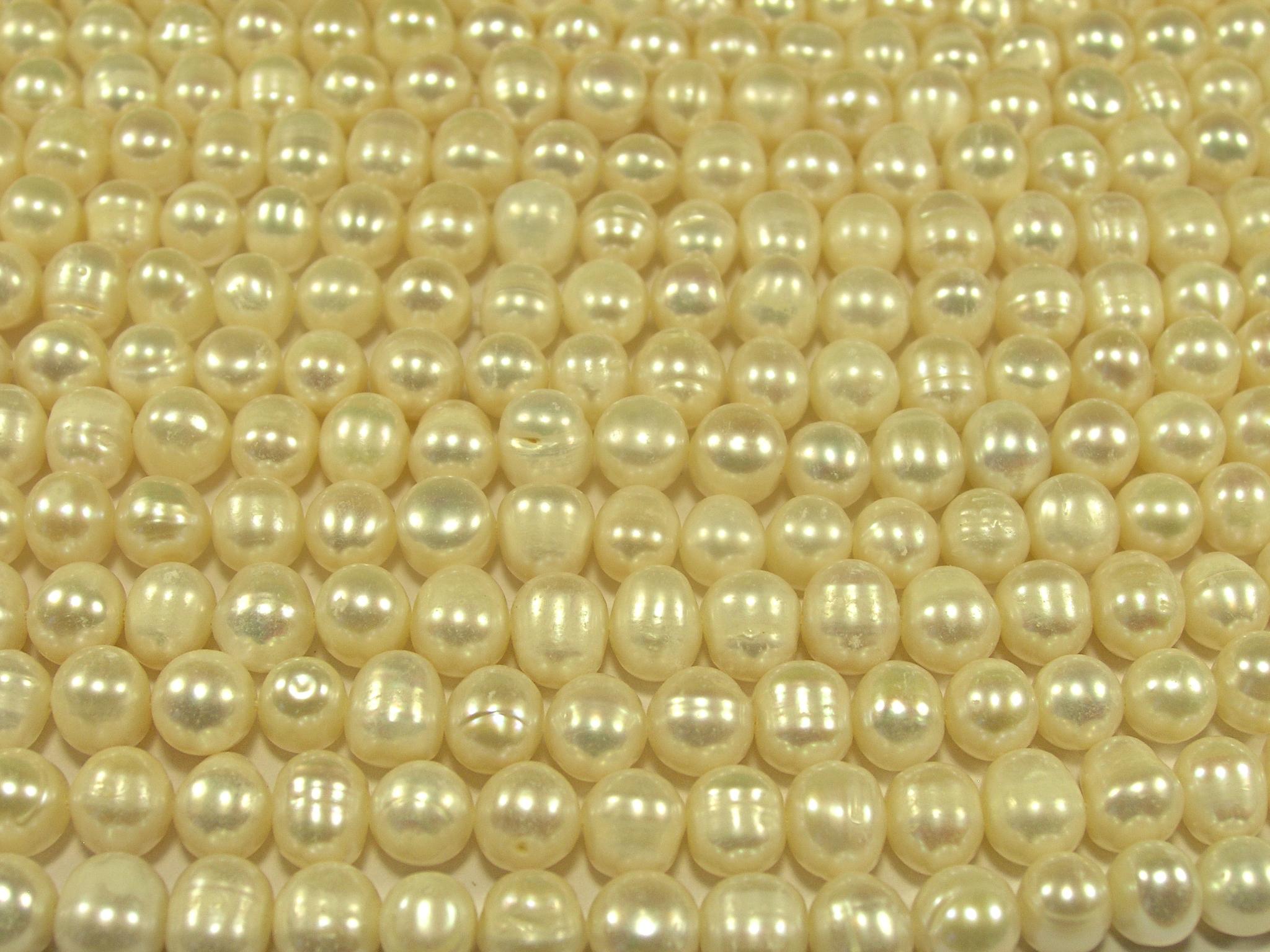 Нити бусин из жемчуга пресноводного культивированного, шар гладкий 7-8 мм (оптом)