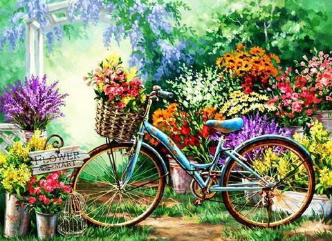 Алмазная Мозаика 50x65 Велосипед в цветочном саду (арт. TC3179)