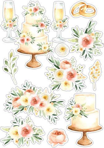 Печать на сахарной бумаге, Набор Свадьба 4
