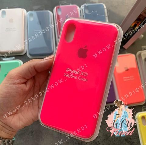 Чехол iPhone XS Max Silicone Case Full /electric pink/ ярко-розовый